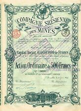POLAND SILESIAN MINING COMPANY stock certificate 1899 WITH COUPONS