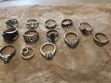 Lot of 13 Sterling Silver 925 Rings Small Sizes 33 grams