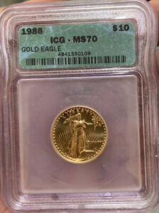 Scarce 1986 $10 1/4 OZ Gold  Eagle Coin ICG MS70 Mint State Ms 70 Finest Known.