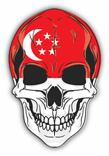 "Skull Flag Singapore Car Bumper Sticker 4"" x 5"""