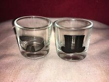 Great Pair of Shot Glasses One Decorated With a Black Top Hat,The Other a Collar