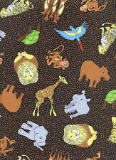 Safari Zoo Animal Fabric - 100% Cotton Kids & Children Quilt Fabric- By the Yard