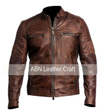 Mens Biker Vintage Motorcycle Cafe Racer Distressed Brown & Black Leather Jacket