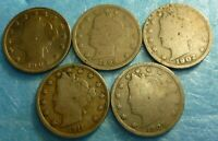 5  Liberty V Nickel Assortment  Coin Collection   #5VN