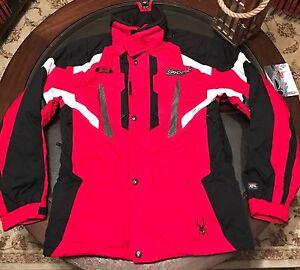 Authentic Spyder Mens Racing Thinsulate Ski Hooded Jacket Red & Black Sz Medium