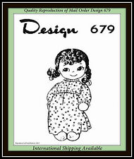 "Sweet VTG 16"" Sock DOLL with DRESS Fabric Sewing Pattern Mail Order Design 679"