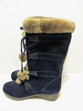 SPORTO~Meagan~Waterproof Suede Lace-Up Boots w/ Pom Poms~NAVY BLUE~10M~NEW