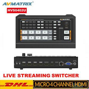 DHL AVMATRIX HVS0402U Micro 4 Channel HDMI Multi-format Switcher Live Streaming