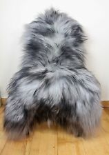 XL Large Grey & Black Tip Genuine Icelandic Sheep Real Fur Sheepskin Rug BN