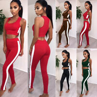New Women Fitness Tops Pants Outfit Tracksuit Sport Suit Running Yoga 2Pcs Set