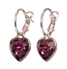 Drop Earrings Rhodium Authentic 7349a Swarovski Elements Crystal Amethyst Heart
