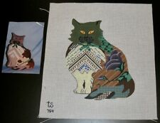 Ts Designs Cat Patchwork Handpainted Needlepoint Canvas