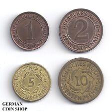 Set 1, 2, 5 und 10 Rentenpfennig 1923 - 1924 - Deutsches Reich Weimarer Republik
