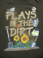 L brown GARDENING t-shirt - PLAYS IN THE DIRT