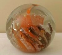 Vintage Kerry Art Glass Paperweight Orange Brown Swirl Bubbles Made in Ireland