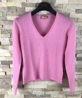 Thomas Pink Ladies Size S 100% Merino Wool V Neck Jumper Sweater Violet