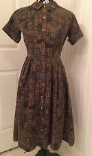 vintage 1950's dress, novelty print shirtwaist