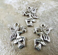 Set of 3 Pewter FAIRY ON A MUSHROOM Charms - 5406