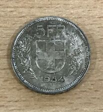 Vintage 1954 Swiss 5 Fr. Franc Silver Coin - 15.08g