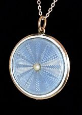 Magnificent Antique STERLING Dbl Sided ENAMEL GUILLOCHE PEARL Pendant Necklace