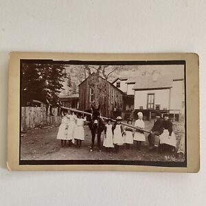 Antique Cabinet Card Gold Mining Town Children Mule Seesaw Odd Rare Ouray CO