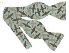 Airplane Bow tie / WWII Planes on Mint Green / Fighter Planes / Self-tie Bow tie
