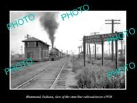 OLD POSTCARD SIZE PHOTO OF HAMMOND INDIANA THE RAILROAD DEPOT STATION c1920