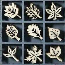 BOX OF 45 WOODEN SHAPES ORNAMENTS LEAVES 1009
