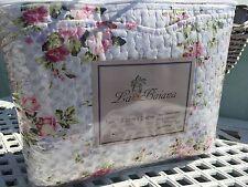 Tagesdecke 220x240 Bettüberwurf weiß mit rosa lila Blumenmuster Quilt Landhaus