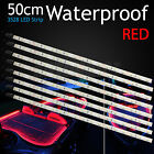 8pcs 12V Waterproof RED 3528 LED Strip Lights Bars Camping Caravan Boat Car 50cm