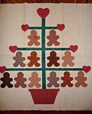 Appliqued Gingerbread Xmas Tree Wall Hanging