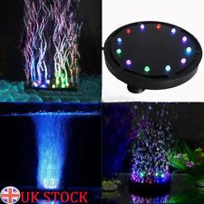 UK 12 LED Light&air Stone Submersible Bubble for Aquarium Fish Tank Pump Curtain