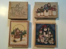 Stamps, Stamps Happen Snowmen, Christmas Set of  4 Stamps