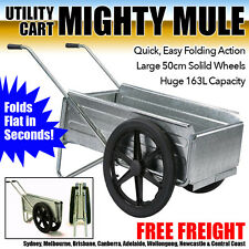 Mighty Mule Folding Wheelbarrow Garden Cart Landscape Utility Wheel Barrow