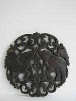 Thai elephant teak wood carved wall panel