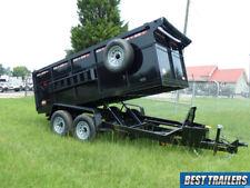 2021 7 X 14 4 Ft High Side Dump Trailer Dumpster W Equipment Bobcat Ramps Twin