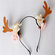 Ladies Girl Flower Deer Antler Costume Ear Party Hairband Head band XMAS