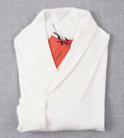 NWT $695 ISAIA NAPOLI Ivory Cotton-Cashmere Shawl Collar Sweater S Slim-Fit