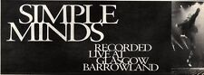 24/8/91 Pgn24/25 Advert: Get simple Minds Live At Glasgow Barrowland 4x22