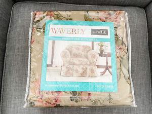 NIP Waverly Sure Fit Bridgewater Floral Antique 2 Piece 100% Cotton Chair Cover