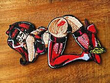 Sexy Naked Girl Biker Embroidered Patch Iron On Applique Sport Woman Badge