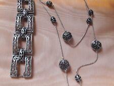 Vint CROWN TRIFARI Marcasite Beaded Necklace w/ coordinating Link Bracelet-WOW !