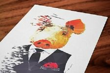 Pig Print Geometric Funky Cool Wall Art Picture Nordic Scandi Humanised Animal
