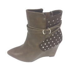 Womens Ladies Coffee Faux Leather Wedge Heel Winter Shoes Ankle Boots Size 7 New