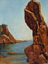 Enmarcado Pintura Al Óleo de una Costa Escena Firmado por Alicia Gregory c1971