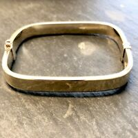 Vintage Squared 9ct Yellow Gold Plated 925 Silver Hinged Bangle Bracelet 14.7g