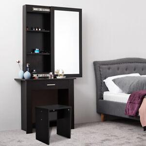 Black Dressing Table Make Up Desk Stool W/ Sliding Storage Mirror Drawer Vanity