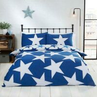 Duvet Cover Set - Single Cotton Bed Set All Stars Blue Reversible Bedding Set