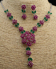 Wedding Jewelry Set of Natural Ruby&Emerald Flower Bridal Accessories Silver