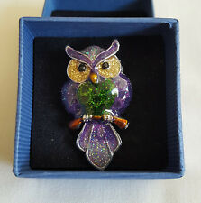 OWL BROOCH - GLITTERY MULTICOLOURED OWL ON SILVER TONE BASE, BRAND NEW, BOXED